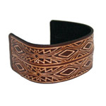 Leather bangle, 'Ethnic Symbols'