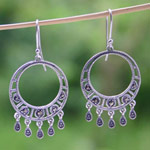 Silver and marcasite chandelier earrings, 'Crescent Moons'