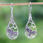 Silver and marcasite dangle earrings, 'Dove Flight'