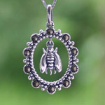 Marcasite and silver pendant necklace, 'Bee Crown'