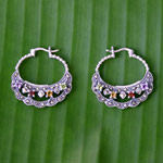 Marcasite and amethyst hoop earrings, 'Elegance'