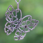 Marcasite and silver pendant necklace, 'Butterfly Splendor'