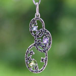 Marcasite and blue topaz pendant necklace, 'Fresh Buds'