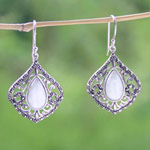 Marcasite and jade dangle earrings, 'Ayutthaya Blazon'