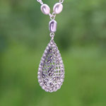 Marcasite and pearl necklace, 'Floral Echo'