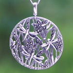 Marcasite and silver necklace, 'Dragonflies'