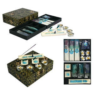 Incense and candle set, 'Blue Pools'