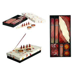 Incense and candle set, 'White Leaf'