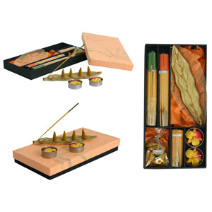 Incense and candle set, 'Brown Leaf'