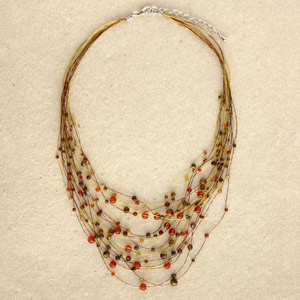 Carnelian and garnet necklace, 'Gossamer Web'