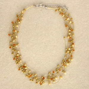 Pearl strand necklace, 'Gold Beauty'
