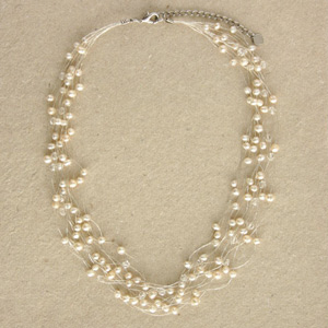 Pearl strand necklace, 'White Beauty'