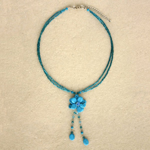 Beaded pendant necklace, 'Azure Forest'