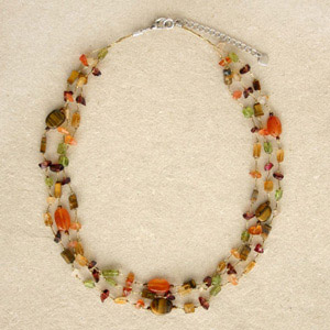 Tiger eye and peridot necklace, 'Tropical Lure'