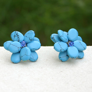 Sterling silver button earrings, 'Blue Flowers'