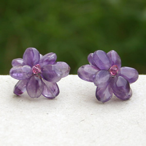 Amethyst button earrings, 'Purple Flowers'