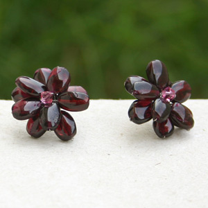 Garnet button earrings, 'Burgundy Flowers'