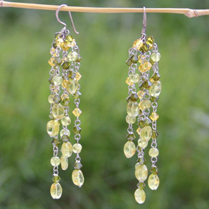 Quartzite dangle earrings, 'Sweet Grapes'