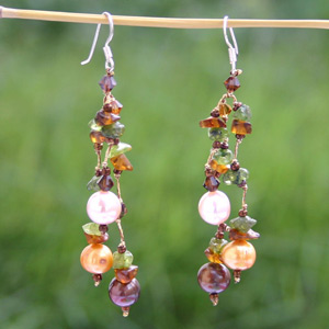 Peridot and pearl dangle earrings, 'Spring Colors'