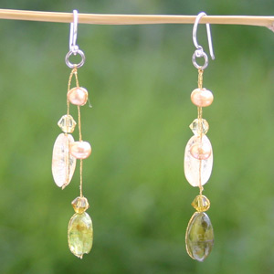 Citrine and peridot dangle earrings, 'Chlorophyll'