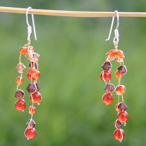 Carnelian waterfall earrings, 'Orange Stardust'