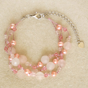 Rose quartz cluster bracelet, 'Marshmallows'