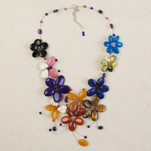 Carnelian and lapis lazuli necklace, 'Garland Fantasy'