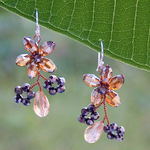 Silver and glass flower earrings, 'Wild Honey'