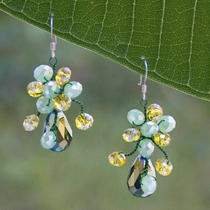 Silver and glass earrings, 'Grape Season'