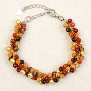 Carnelian and tiger eye bracelet, 'Orange Mystery'