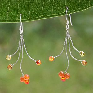 Carnelian and sterling silver dangle earrings, 'Orange Tendrils'
