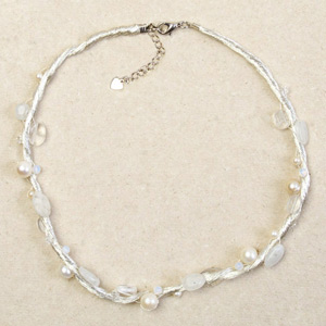 Pearl and milky quartz necklace, 'Ice Liana'