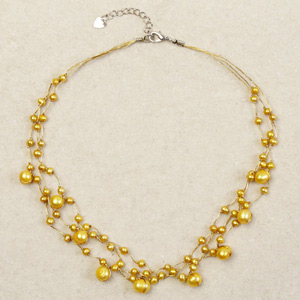 Pearl strand necklace, 'Gold Drops'
