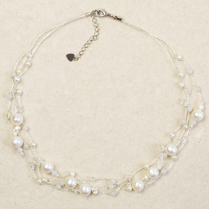 Pearl and milky quartz necklace, 'Milk Drops'