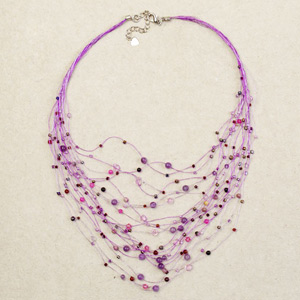 Amethyst necklace, 'Lavender Web'