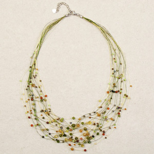 Jade and citrine necklace, 'Lime Web'