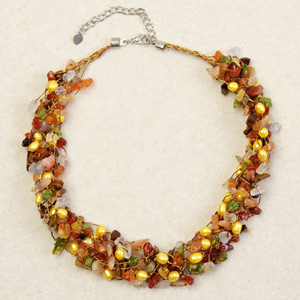 Carnelian and tiger eye necklace, 'Siamese Delight'