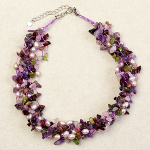 Amethyst and garnet necklace, 'Thai Delight'
