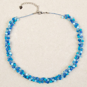 Topaz and quartz cluster necklace, 'Blue Mystery'