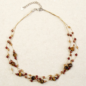 Tiger eye and garnet necklace, 'Brown Marshmallows'