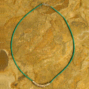 Silver and turquoise necklace, 'Mesh'