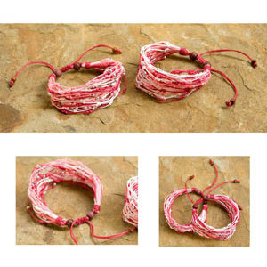 Nylon and raintree wood bracelet, 'Sugared Almonds' (set of 2)