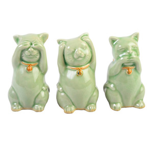 Celadon ceramic statuettes, 'Wise Cats'