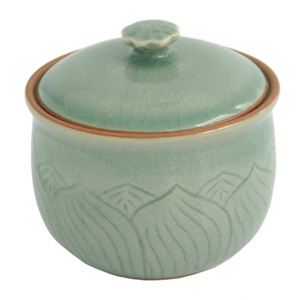 Celadon ceramic box, 'Lotus Pond'