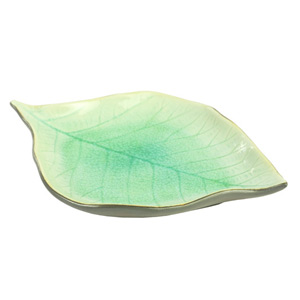 Ceramic container, 'Teak Leaf'