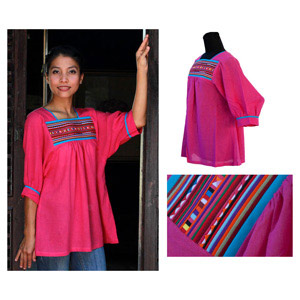Cotton blouse, 'Tropical Pink'
