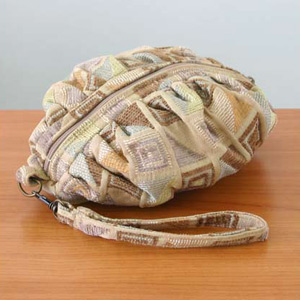 Cotton cosmetic handbag, 'Ginger Cubism'