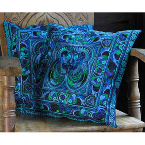 Ethnic cotton cushion covers, 'Blue Spirit' (pair)