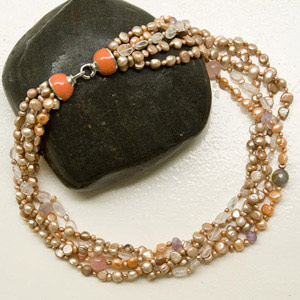 Pearl and amethyst necklace, 'Ancient Civilization'