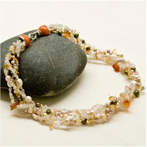Pearl, citrine and carnelian necklace, 'Jewel Sparkle'
